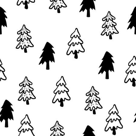 Christmas tree seamless pattern. Hand drawn doodle forest background. Retro holiday wraping paper. Vector monochrome pattern. Abstract vintage print for fabric, packaging.