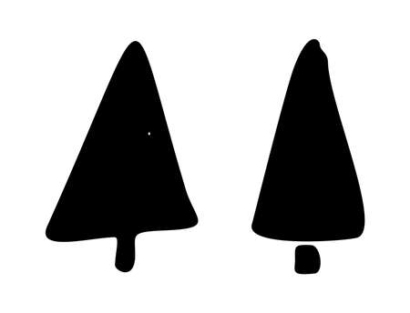 Christmas tree doodle silhouette. Hand drawn xmas decorations icons. Vector illustration isolated on white background. Design element Christmas tree for holiday greeting card, gift tag. Ilustrace