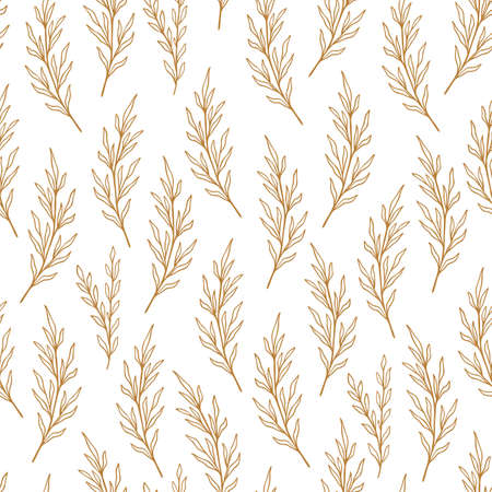 Eucalyptus pattern in line style. Floral olive seamless hand drawn ornament. Modern doodle repeat pattern with olive branch. Eucalyptus cute wallpaper, vector illustration in pastel colors