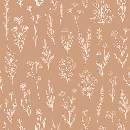 Wildflower seamless pattern with outline florals. Retro style print design with hand drawn doodle flowers in rustic colors.