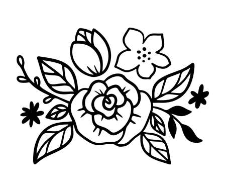 Doodle flower diadem with rose and leaves. Floral crown in line art style. Bouquet for headband for women accessory. Vector illustration isolated on white background. Floral wreath design