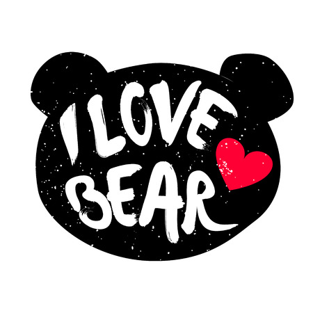head i: Cute bear head silhouette with inscription and red heart. Lettering text I Love bear. Vector.