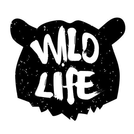 wild life: Bear head silhouette with text wild life. Lettering style. Vector icon. Illustration