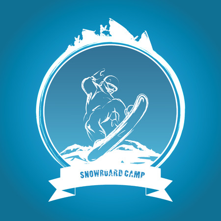 snowboard: Snowboarding vector emblem. Ski snowboard Illustration