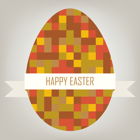 8bit: Happy easter card. Illustration with pixel egg and ribbon