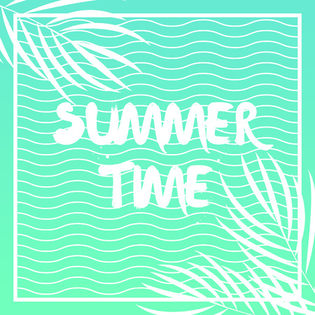 Summer Tropical print with  palm leaves and waves.  Vector background
