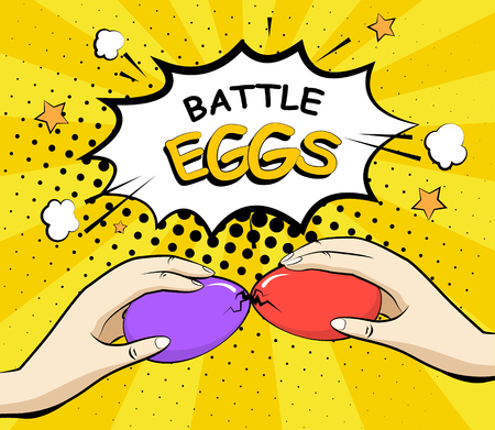 Easter background with eggs battle. Comics style