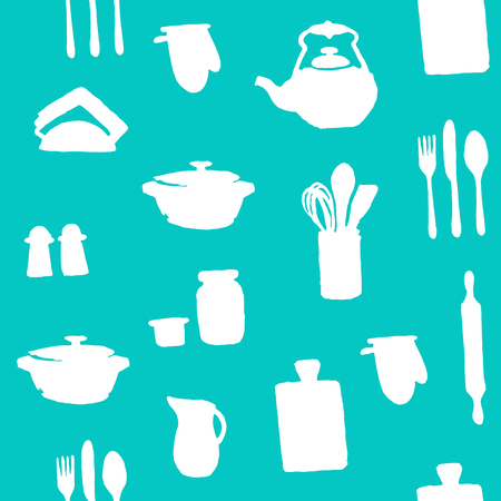 silhouttes: Seamless pattern with silhouettes of kitchen utensils on a blue background. Vector