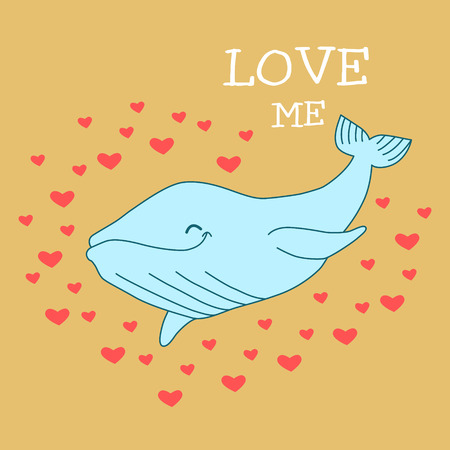 Whale on sand background with hearts and the words Love me. Summer vector  poster.