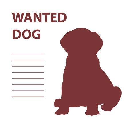 Silhouette of a Labrador Retriever puppy with words Wanted Dog. Vector illustration Illustration