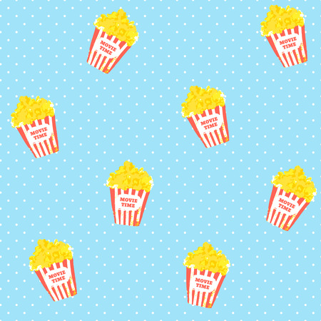 Vector polka dots pattern with popcorn. Retro background. Illustration