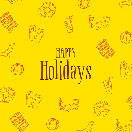 Happy Holidays Card with summer linear icons. Vector illustration