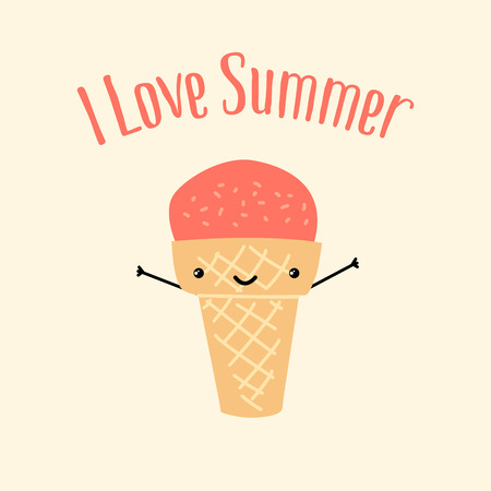 Summer card with fun ice cream and the words I Love Summer . Vector background Vettoriali