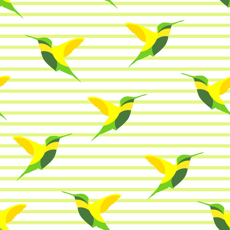 Seamless pattern with hummingbird  in a strip. Vector background