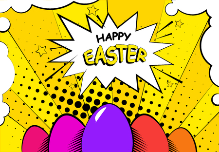 Easter background with eggs. Comics style. Vector