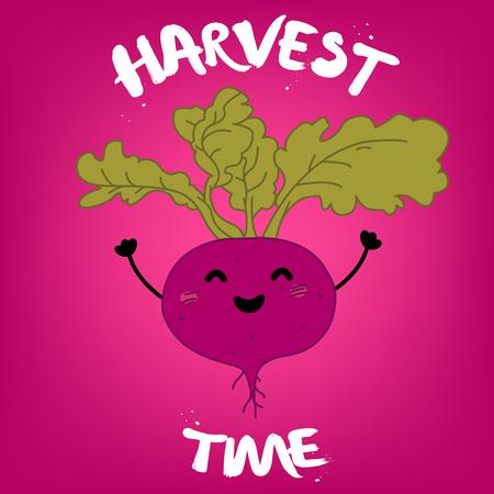 up time: Harvest time illustration.Vector cartoon flat illustration with beet.
