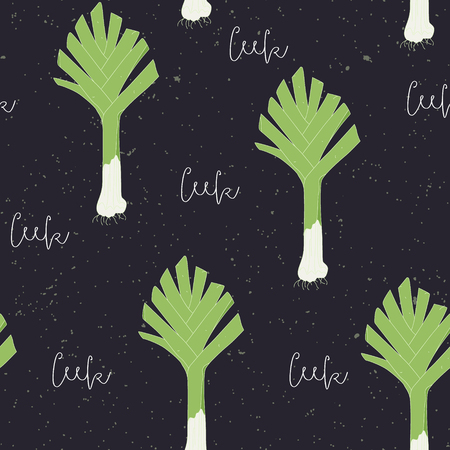 leek: Hand drawn seamless pattern with leek. Colorful vector illustration