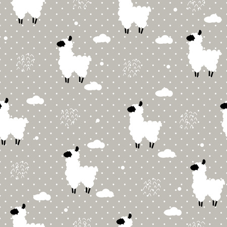 Seamless pattern polka dot with lama and clouds. Vector  background Banco de Imagens - 70475675