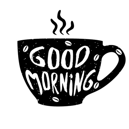 Good morning cup with hand drawn lettering. Cup of coffee. Vector  illustrationon. Banco de Imagens - 70475688
