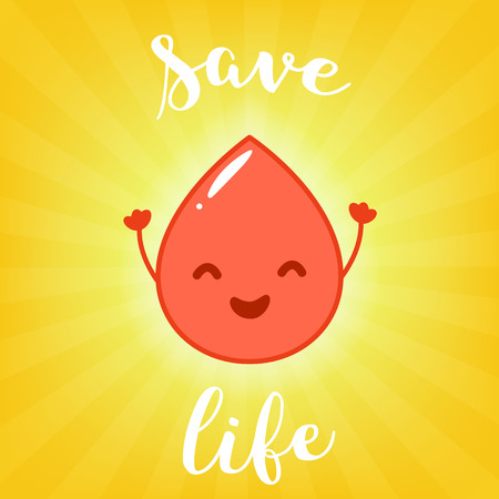 eye drops: Vector Illustration of Blood Donation. Fun raindrop and calligraphic inscription Save Life. Flat cartoon style. Illustration
