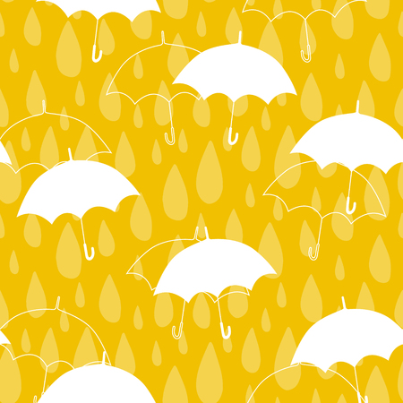 Seamless pattern with light raindrops and umbrellas. Vector yellow background.
