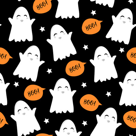 Halloween pattern with cute ghost, stars and text clouds. Vector seamless background.