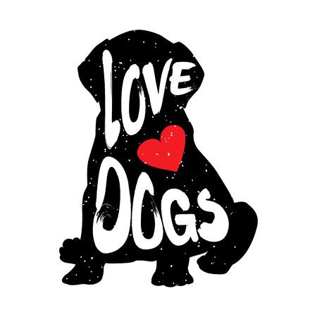 心とレタリング本文愛犬犬のシルエット。ベクトル図