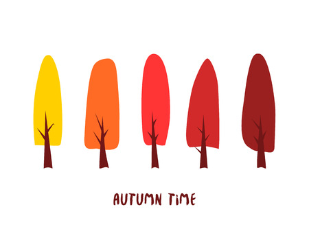 Autumn forest. Vector card with color trees and inscription autumn time. Illustration