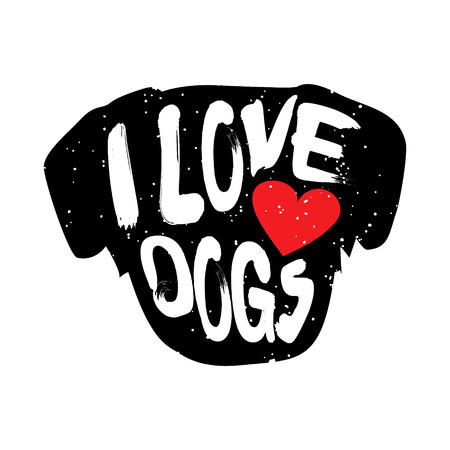 Head of the dog with heart and lettering text I Love Dogs. Vector illustration.