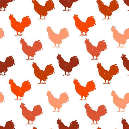 Seamless polka dot pattern with color silhouette rooster. Christmas ornament. Vector background. Ilustração