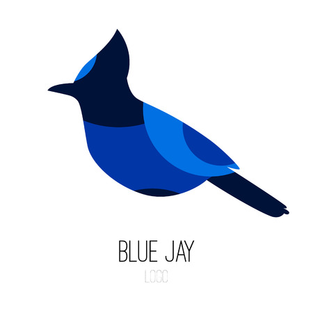 Blue Jay vector icon. Flat design.