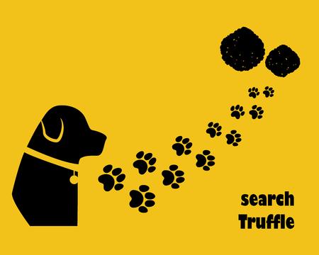 Dog with paw trail. Search truffle. Flat style. Ilustração Vetorial