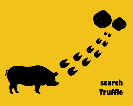 truffle: Pig with hoofprints. Search truffle. Flat style.