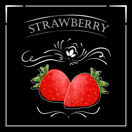 Vector card in vintage style. Stylized drawing with chalk on a blackboard with strawberry.
