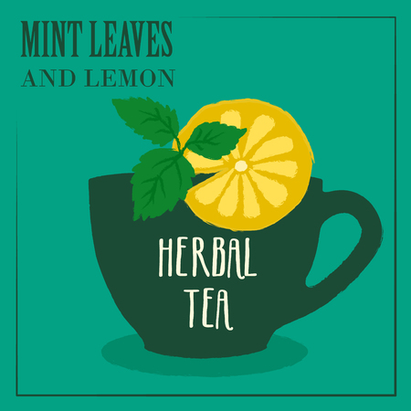 homeopathic: Herbal tea with Mint leaves and lemon. The design of the label. Vector