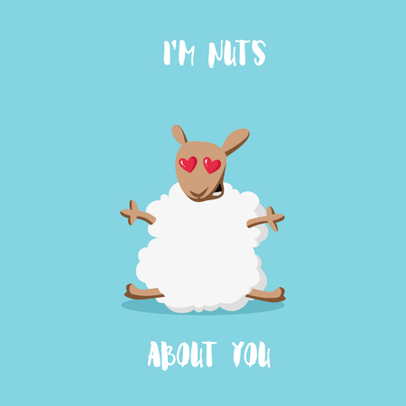 about you: Im nuts about you. Love cartoon sheep style flat. Happy Valentines card. Vector