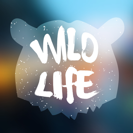 life style: Bear head silhouette with text wild life on blur background. Lettering style. Vector.
