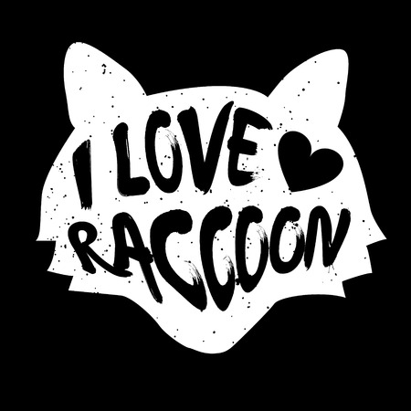 head i: Raccoon head silhouette with inscription and heart. Lettering text I Love raccoon. Vector.