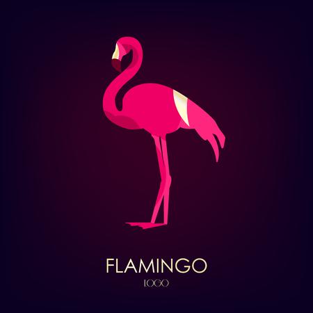 Flamingo vector icon on dark background. Logo. Flat design.