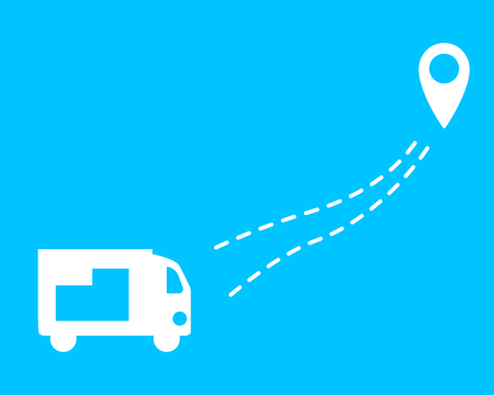 Truck with sending. A car with a dotted line and geolocation. Flat design. Illustration