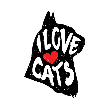 The cats head in profile with heart and lettering text I Love Cats. Vector illustration.
