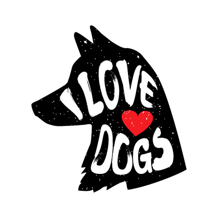 The dogs head in profile with heart and lettering text I Love Dogs. Vector illustration. Illustration