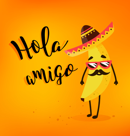 Plátano divertido de la historieta en un sombrero y un bigote mexicanos. Hola amigo. Tarjeta de verano. Estilo plano. Ilustración del vector. Foto de archivo - 77894118