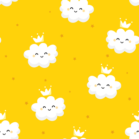 Seamless pattern with cute clouds princess and stars on yellow background. Ornament for childrens textiles and wrapping. Flat style. Vector.