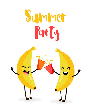 Funny cartoon bananas drink juice. Summer Party. Flat style. Vector.