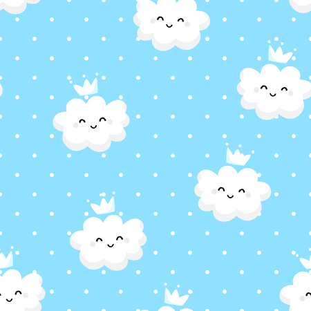 Seamless pattern polka dot with cartoon clouds on blue background. Illustration