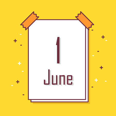 Calendar with the date the first of June. Thin line flat design card. Vector banner. Illustration