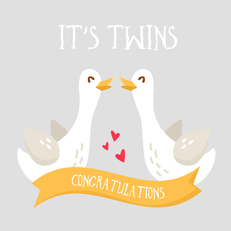 Happy birthday card with cartoon geese and ribbon. Its Twins. Flat design. Vector.