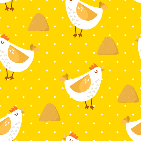Seamless pattern in polka dot with cartoon chicken and haystack on yellow background. Ornament for textile and wrapping.