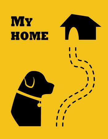 Silhouette du chien et de la route à la maison. Style plat Vecteur.